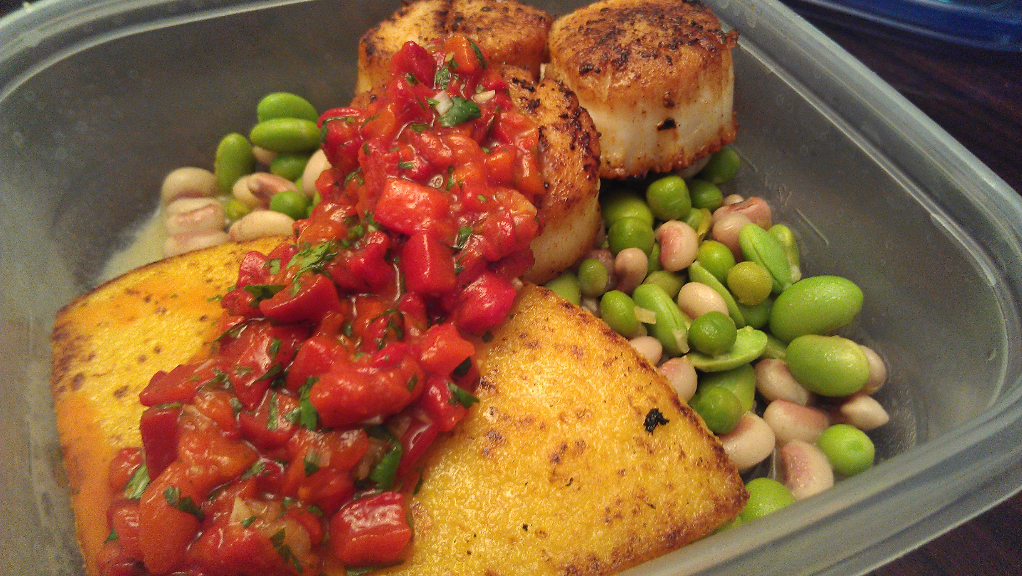Scallops and polenta with roasted pepper relish