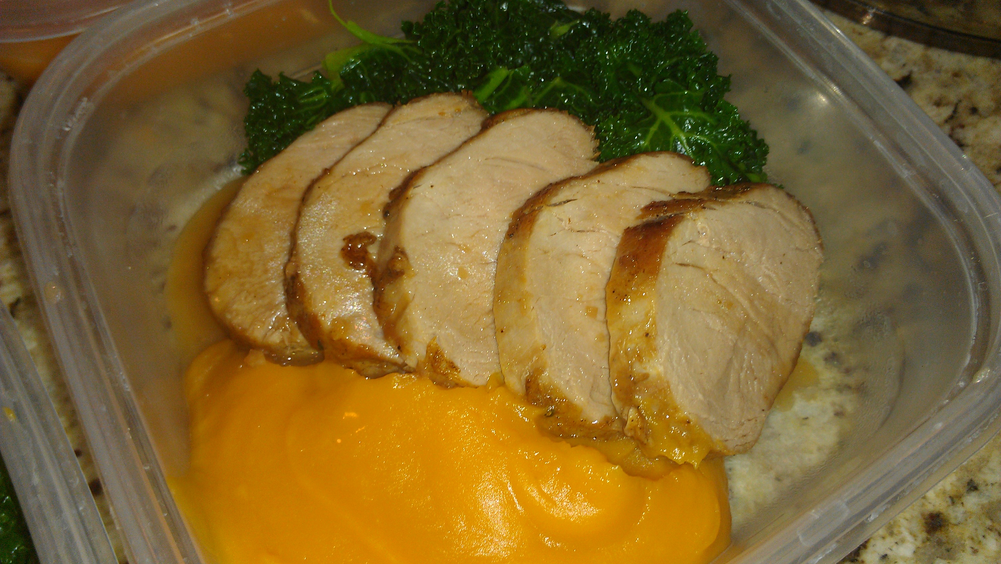 Honey glazed pork tenderloin with pureed sweet potatoes pic