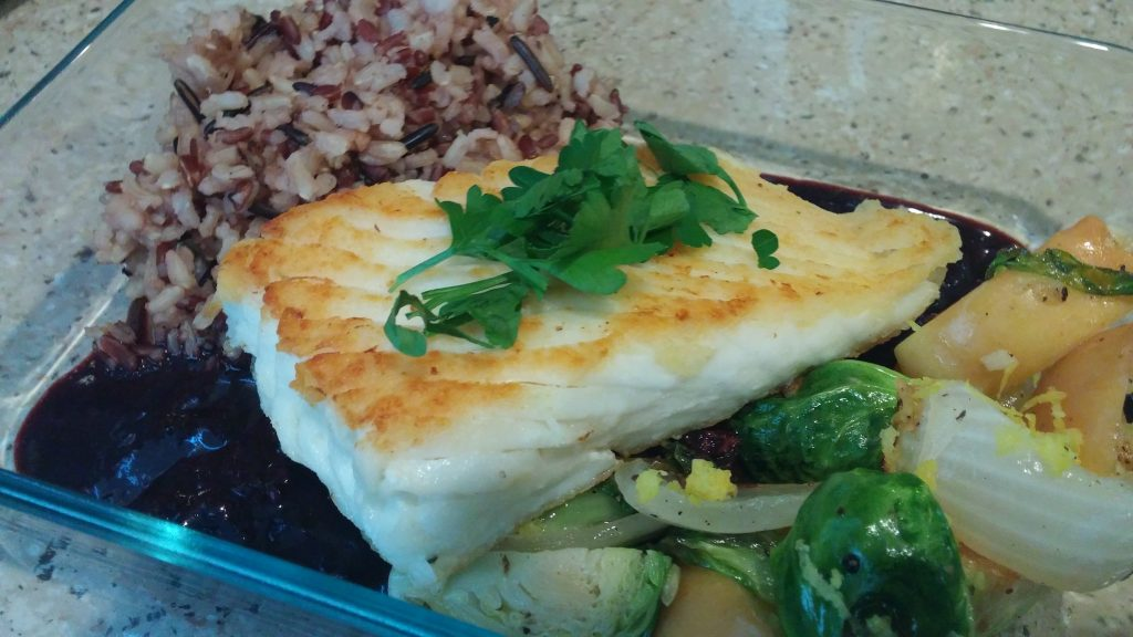 Seared halibut meal prep image
