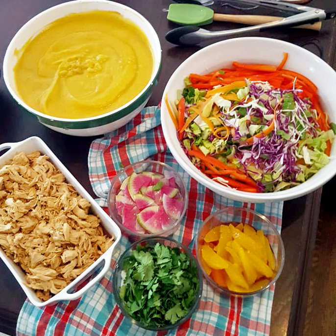 Asian Chicken Salad and Butternut Squash Soup